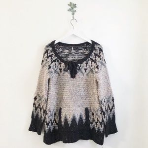 Free People Love Bug Nordic Lace Up Sweater M